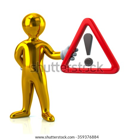 Cartoon golden man character holding  warning attention sign with exclamation mark - stock photo