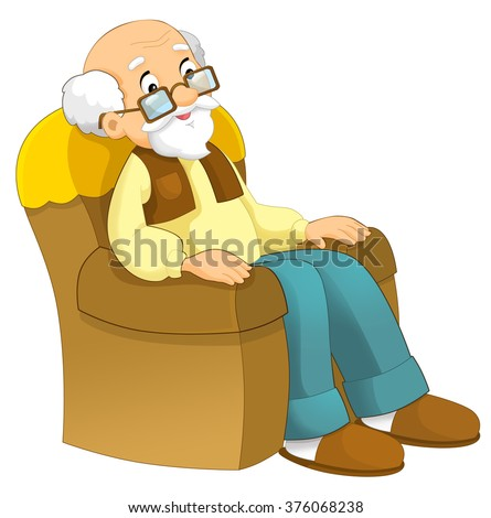 Cartoon grandfather sitting in the armchair - isolated - illustration for the children - stock photo