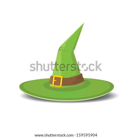 cartoon green tall witch hat isolated on white background. wizard or magician green hat. raster version. - stock photo