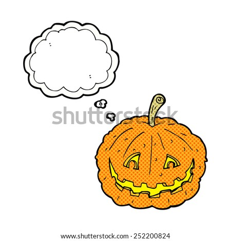 cartoon grinning pumpkin with thought bubble - stock photo