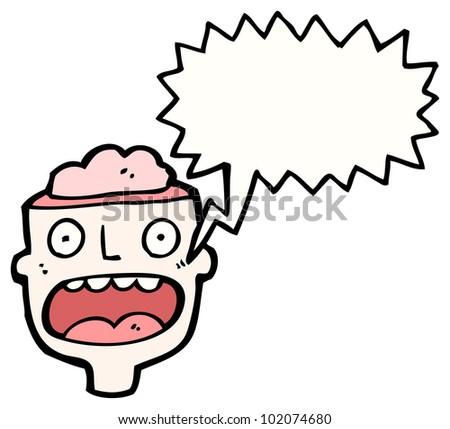 cartoon gross halloween open brain head - stock photo
