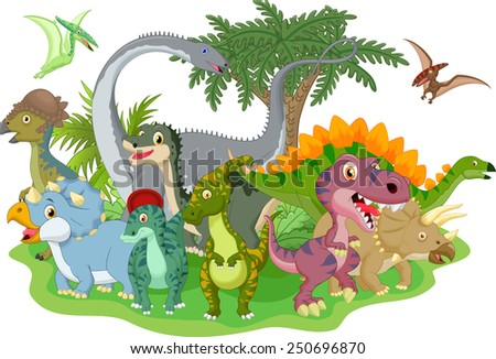 Cartoon group of dinosaur  - stock photo