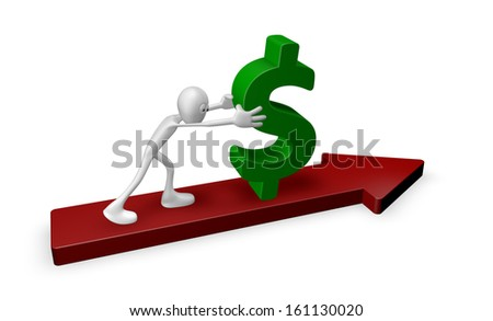 cartoon guy pushes dollar on arrow - 3d illustration