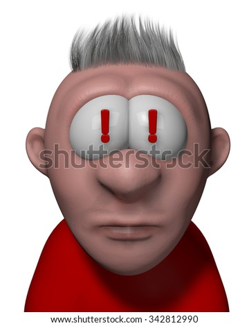 cartoon guy with exclamation mark in his eyes - 3d illustration - stock photo