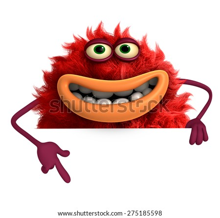 cartoon hairy monster 3d - stock photo