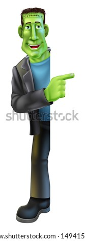Cartoon Halloween Frankenstein's Monster character peeking round a sign and banner pointing - stock photo