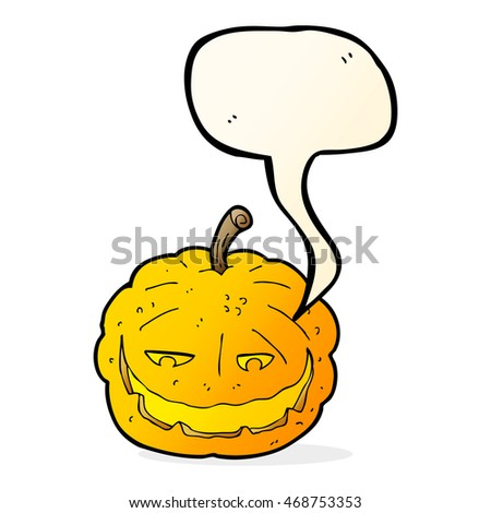 cartoon halloween pumpkin with speech bubble