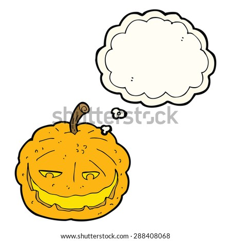 cartoon halloween pumpkin with thought bubble - stock photo