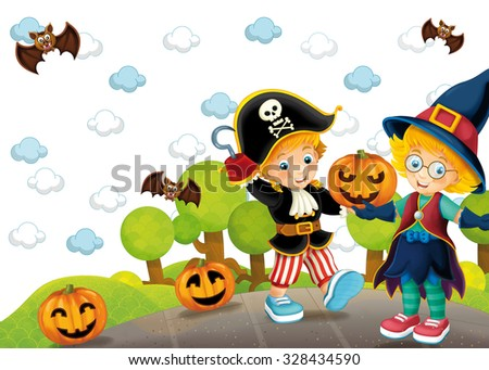 Cartoon halloween scene with children as a witch and a pirate - illustration for the children