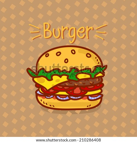 Cartoon hamburger with an inscription on a brown background - stock photo