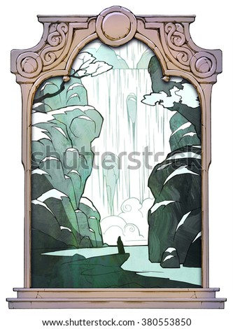 Cartoon hand drawn winter landscape with waterfall and a lonely figure of a man meditating by the waterfalls framed with a stone decorated hand drawn arch - stock photo