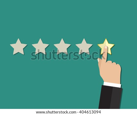 cartoon hand gives a star rating. voting, user review, feedback concept. illustration in flat design on green background Raster version - stock photo