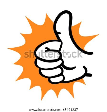 Cartoon hand thumb up gesture - stock photo