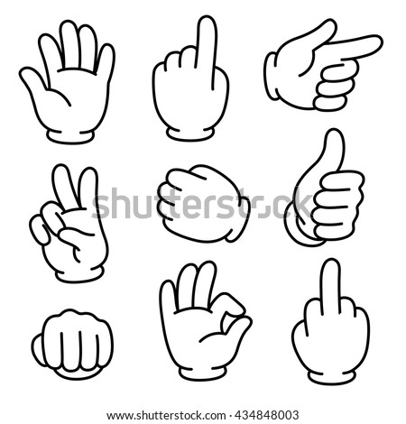 Cartoon hands gesture set. Traditional cartoon white glove. Isolated clip art illustration.