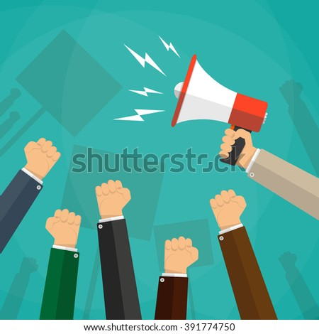 Cartoon hands of demonstrants and hand with Megaphone, protest concept, revolution, conflict, illustration in flat design on green background - stock photo
