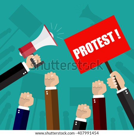 Cartoon hands of demonstrants and hand with Megaphone, protest concept, revolution, conflict, illustration in flat design on green background Raster version - stock photo
