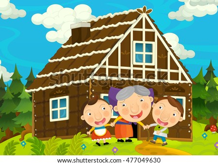Cartoon happy and funny farm scene with young pair of kids - brother and sister - illustration for children