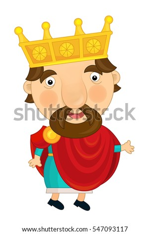 Cartoon happy and funny knight or king - isolated - illustration for children