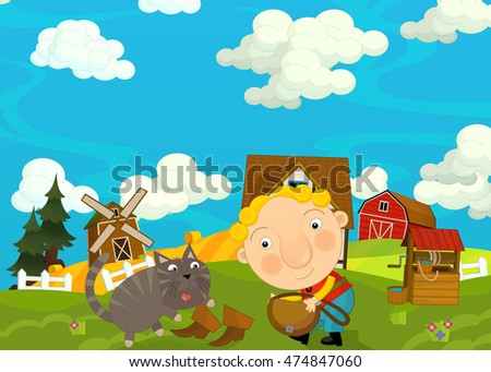 Cartoon happy and funny scene with young man and cat - illustration for children