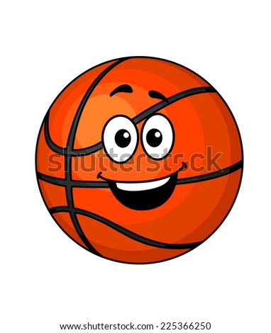 Cartoon happy basketball ball with a big smile and googly eyes isolated on white - stock photo