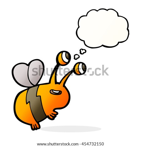 cartoon happy bee with thought bubble