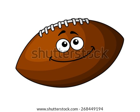 Cartoon happy brown leather football or rugby ball, isolated on white - stock photo