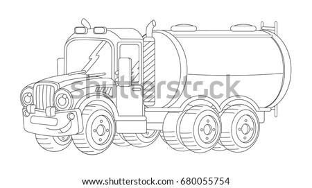 coloring page cartoon heavy semi truck stock vector