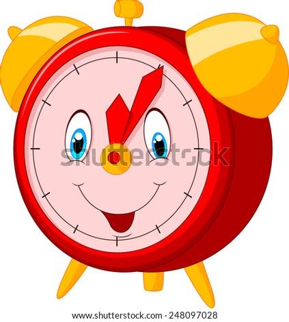 Cartoon happy clock - stock photo