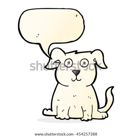 cartoon happy dog with speech bubble - stock photo