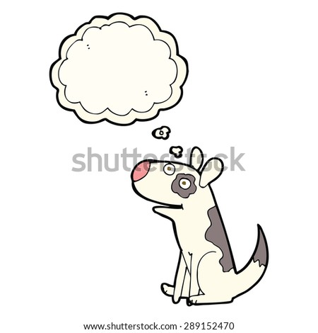 cartoon happy dog with thought bubble - stock photo