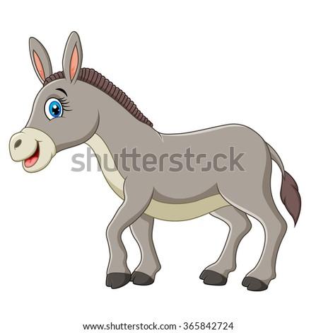 Cartoon happy donkey isolated on white background - stock photo