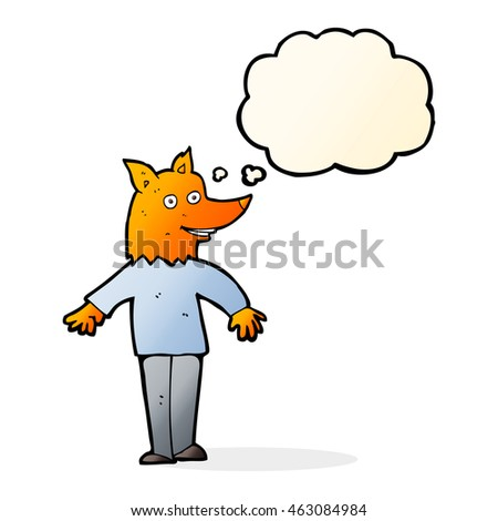 cartoon happy fox man with thought bubble