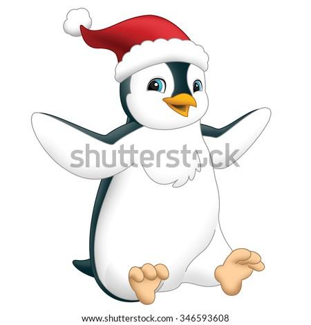 Cartoon happy penguin - isolated -  illustration for the children - stock photo