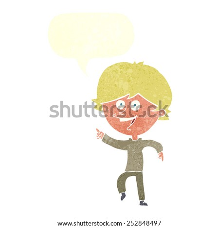 cartoon happy pointing man with speech bubble