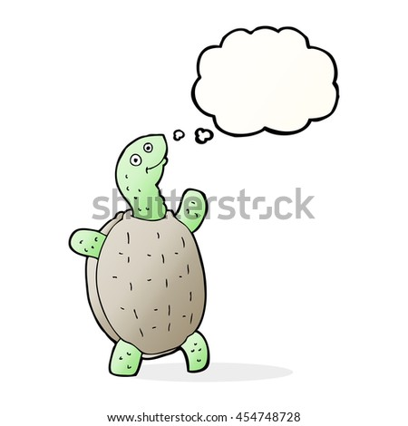 cartoon happy turtle with thought bubble - stock photo
