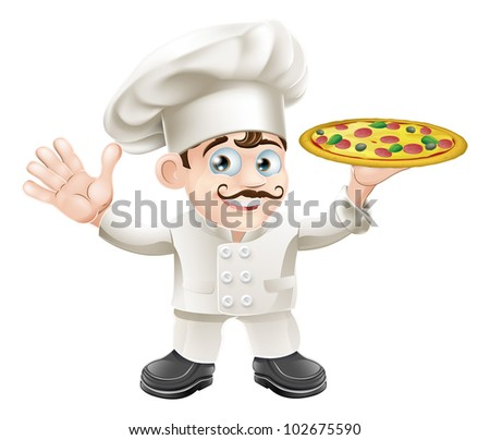 Cartoon happy waving Italian pizza chef with curly moustache
