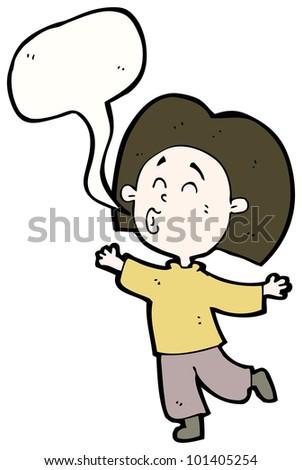 cartoon happy whistling person - stock photo