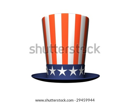 Cartoon Hat with American flag isolated on white background