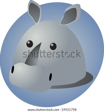 Cartoon head of a rhinoceros, cute animal illustration