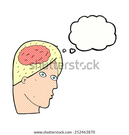 cartoon head with brain symbol with thought bubble - stock photo