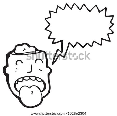 cartoon head with exposed brain - stock photo