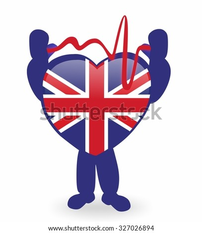 cartoon heart with british flag and heartbeat - stock photo