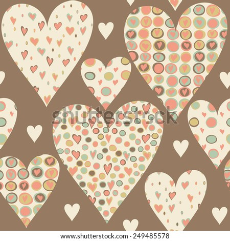 Cartoon hearts seamless pattern. Valentines day card design.