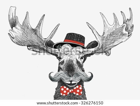 cartoon hipster moose with large handlebar mustache, cool hat and red bow tie with polka dots, funny boyfriend or wedding groom animal, hand drawn humorous holiday sketch illustration - stock photo