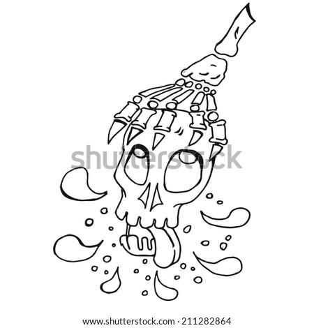 cartoon Holding Skull Spit splash out, outline artwork, raster image for child development - stock photo