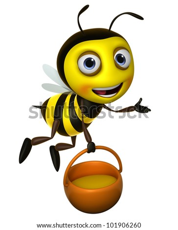 cartoon honey bee - stock photo