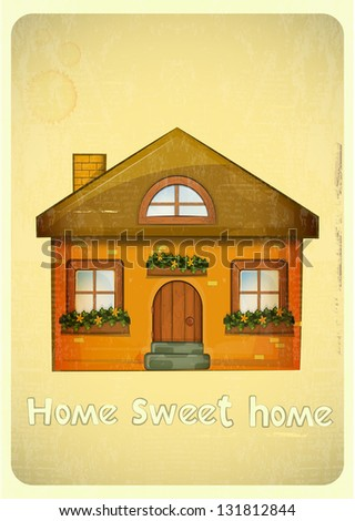 Cartoon Houses Postcard. Country Cottage on Vintage Background. Sweet Home - hand lettering. JPEG version. - stock photo