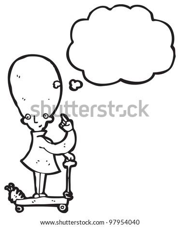 cartoon huge brain genius scientist - stock photo