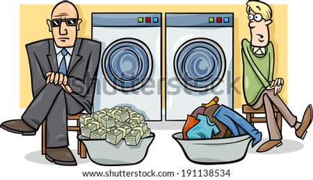 Cartoon Humor Concept Illustration of Money Laundering Saying or Proverb - stock photo