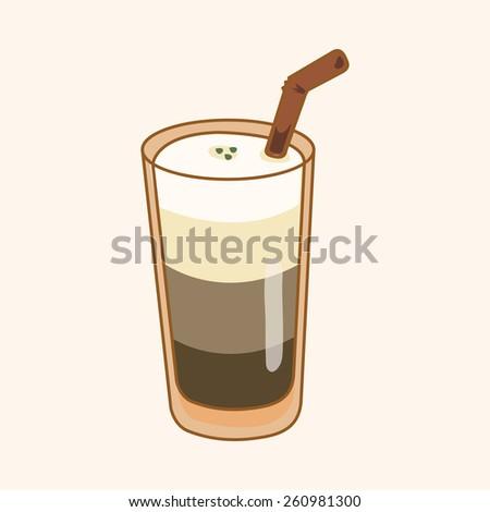 cartoon ice floating coffee  - stock photo